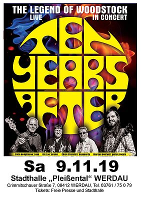Flyer des Ten Years After Konzerts in Werdau